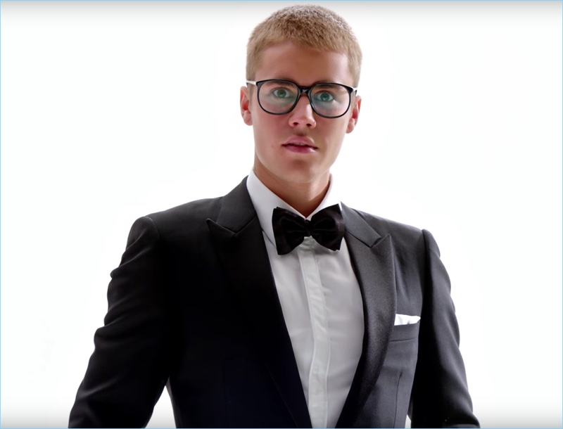 Donning a Dior Homme tuxedo, Justin Bieber is front and center for T-Mobile.