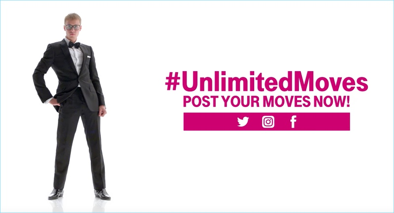 Justin Bieber dons a Dior Homme tuxedo with Saint Laurent boots for his T-Mobile commercial.