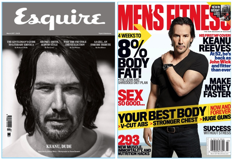 Keanu Reeves covers the latest issue of Esquire UK and Men's Fitness.