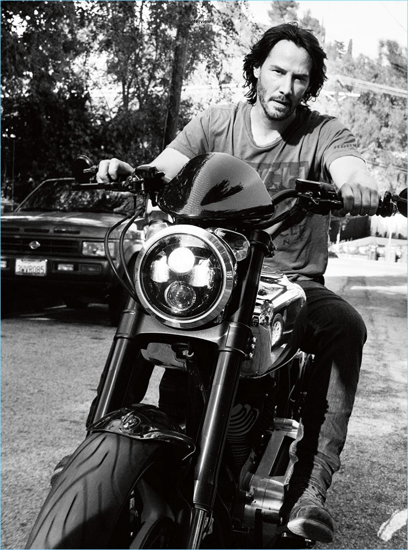 Taking to the streets of Los Angeles on a motorcycle, Keanu Reeves appears in a photo spread for Esquire UK.