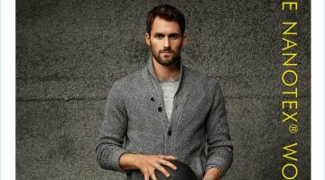 Standing tall, Kevin Love dons a cardigan sweater with a tee and wool pants by Banana Republic.