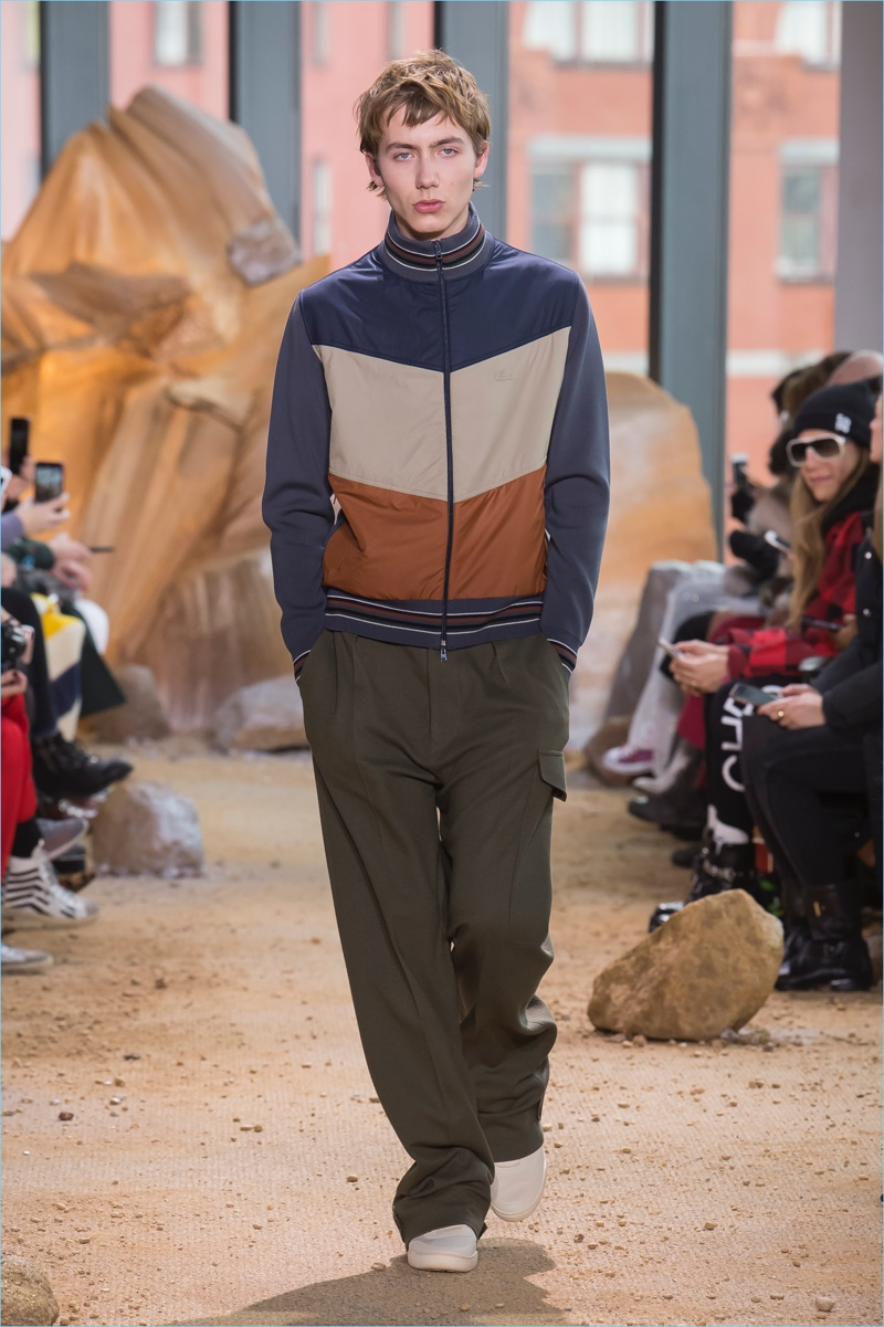 Color blocking comes together with a casual attitude for Lacoste's fall-winter 2017 men's collection.