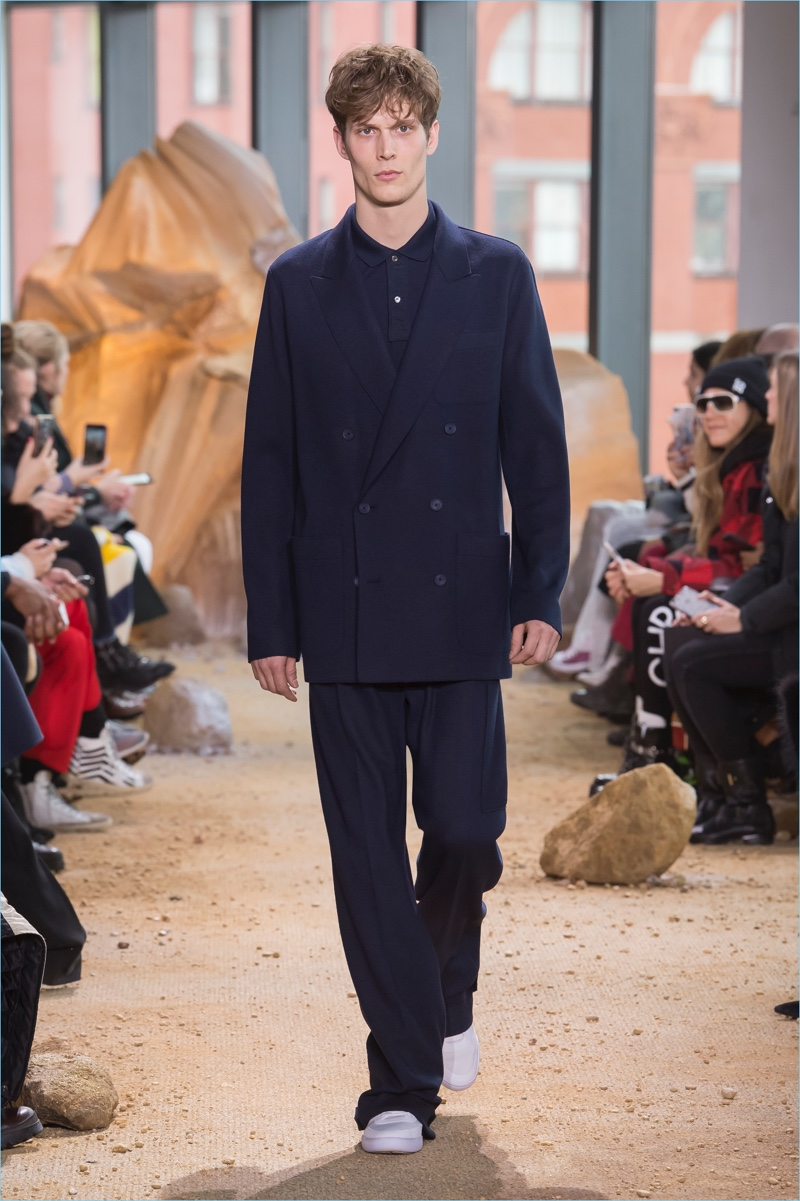 Lacoste drops the cut on its double-breasted suit for fall-winter 2017.