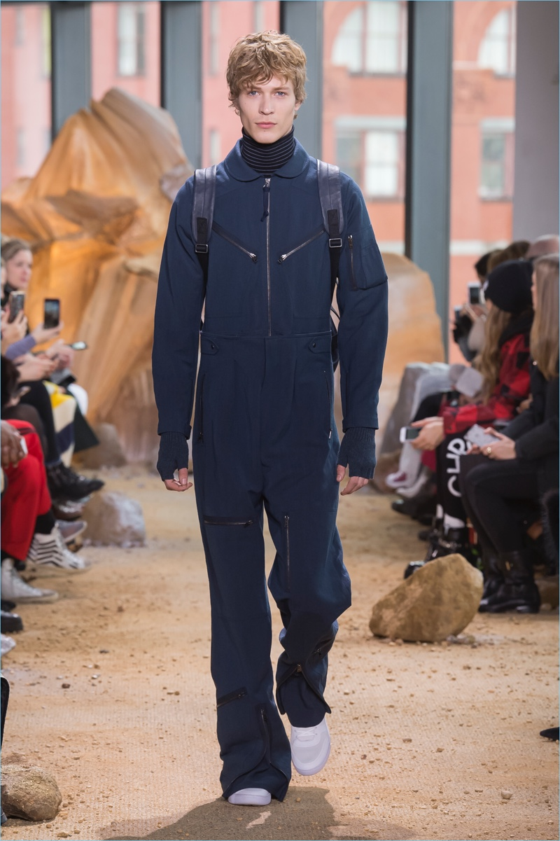 The jumpsuit makes an appearance as part of Lacoste's fall-winter 2017 collection.
