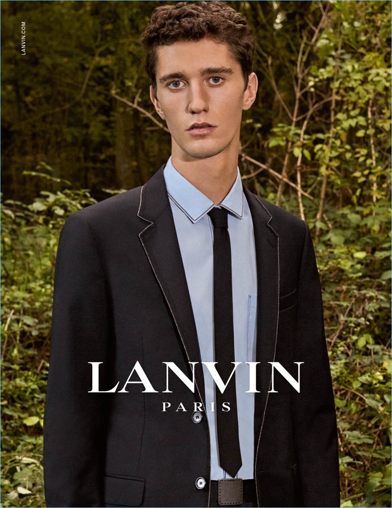 Joby Barrett dons modern tailoring for Lanvin's spring-summer 2017 campaign.