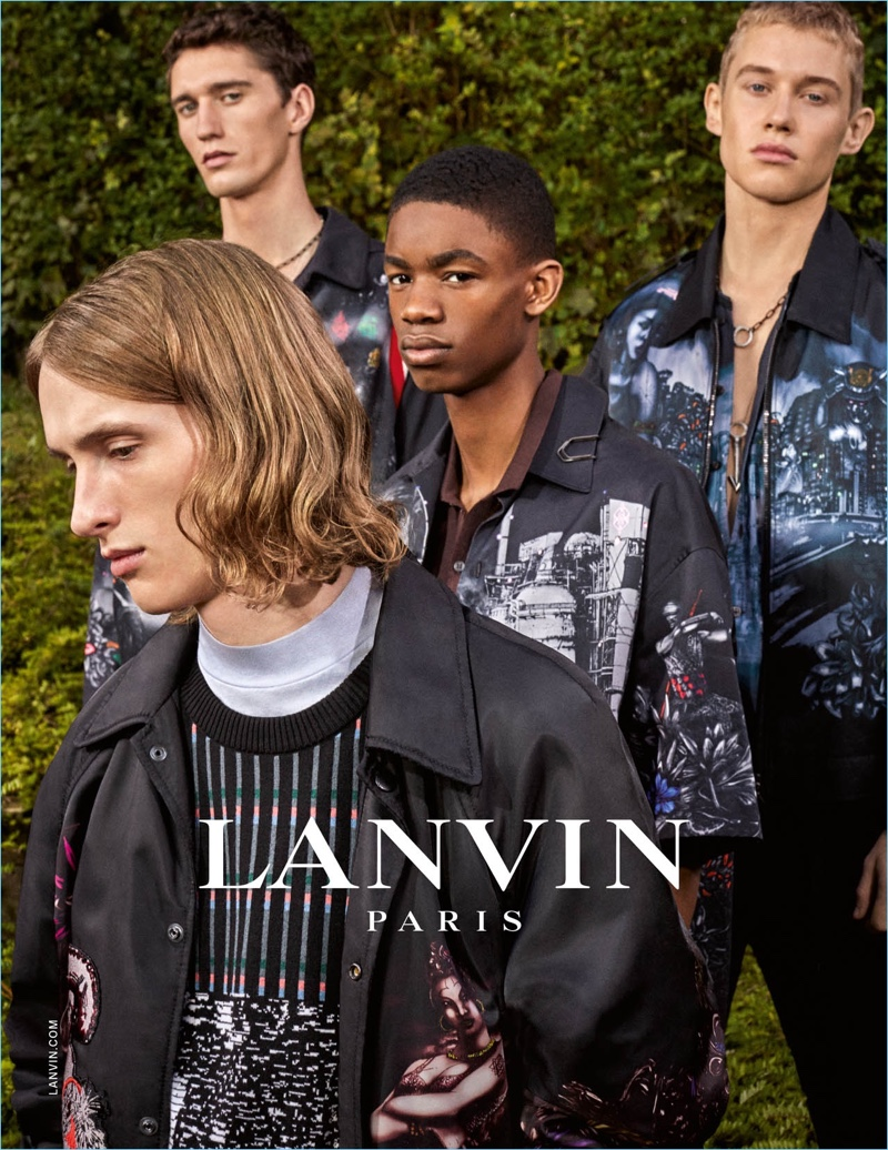 Lanvin features graphic prints for its spring-summer 2017 men's campaign.