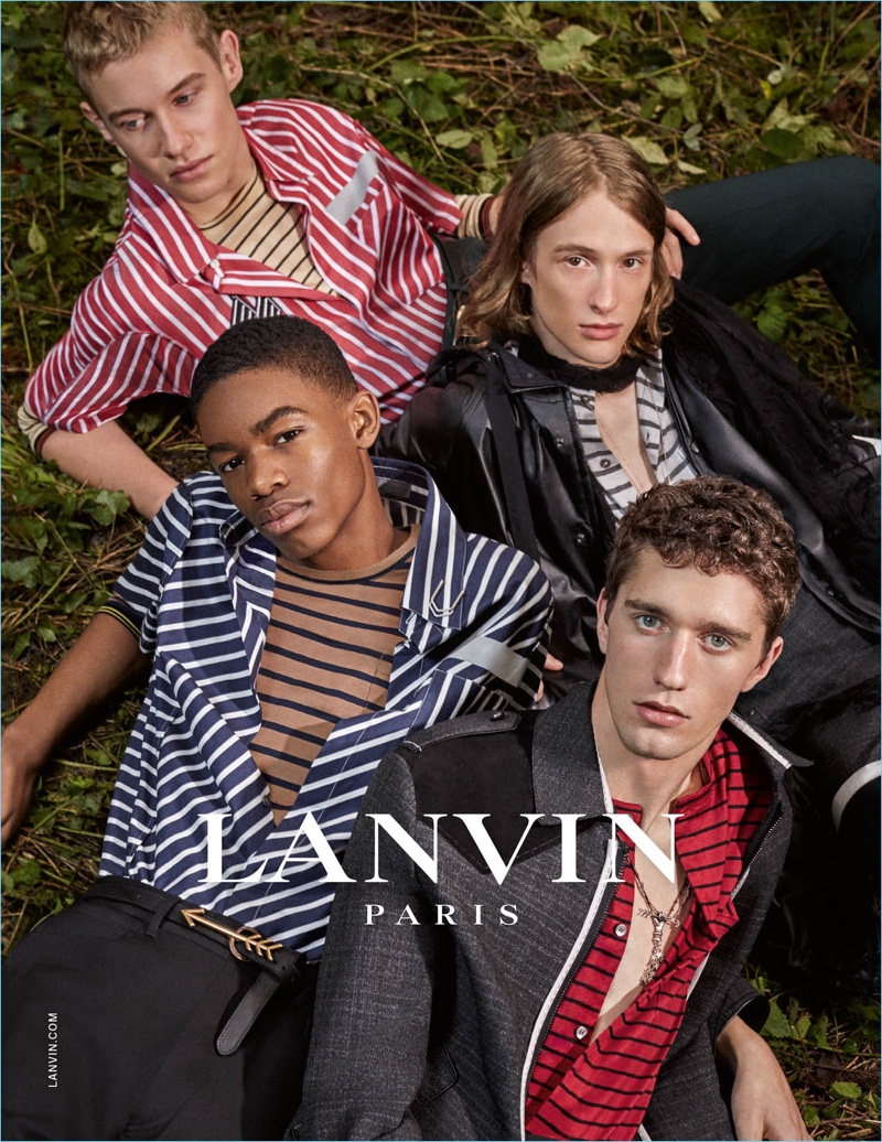 Stripes are front and center for Lanvin's spring-summer 2017 campaign.