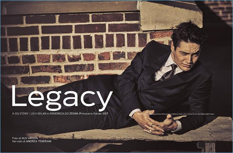 Guy Aroch photographs Levi Dylan in Ermenegildo Zegna for GQ Italia.