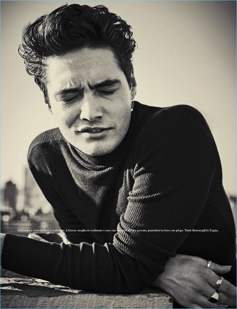Model Levi Dylan stars in an Ermenegildo Zegna feature for GQ Italia.