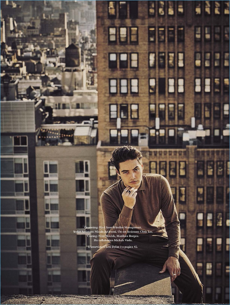 Taking to a rooftop, Levi Dylan appears in an editorial shoot for GQ Italia.