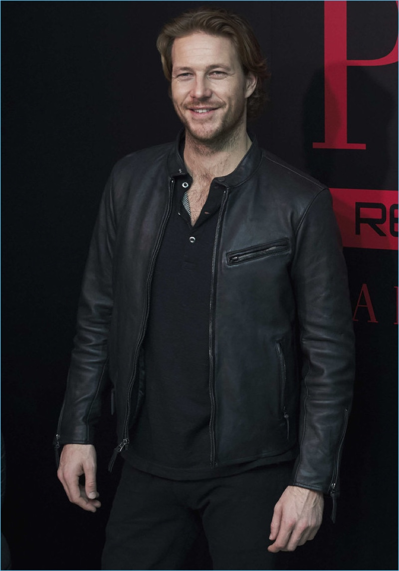 February 2017: Luke Bracey sports a leather jacket as he promotes Polo Red Extreme in Madrid, Spain.
