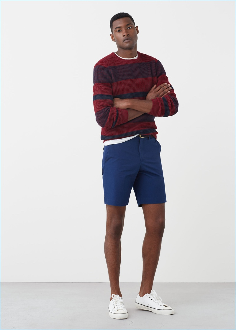 Navy is front and center for a smart pair of Bermuda shorts by Mango Man.