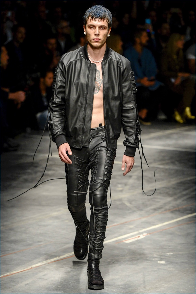 Leather jacket in summer - Marcelo Burlon County Of Milan Makes A Leather Statement With Lace Details For Spring Summer