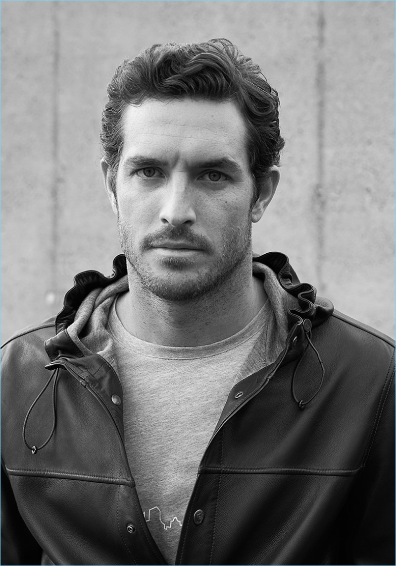 Justice Joslin wears a hooded leather jacket from Massimo Dutti's limited edition Soft Collection.