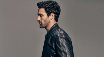 Noah Mills sports a leather jacket from Massimo Dutti's spring-summer 2017 Limited Edition collection.