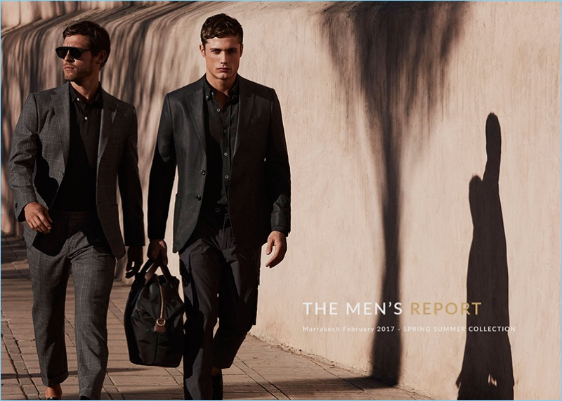 Taking to the streets of Marrakech, Josh Upshaw and Steven Chevrin wear tailoring from Massimo Dutti.