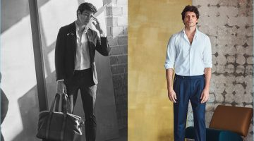Oriol Elcacho and Andres Velencoso don tailoring from Massimo Dutti's spring-summer 2017 collection.