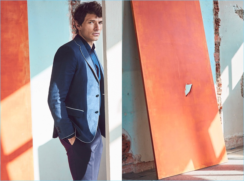 Andres Velencoso sports a linen blazer with piping from Massimo Dutti.