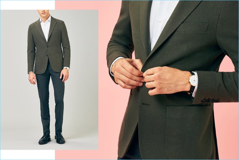 Taking a separates approach to suiting, Jamie Wise wears a Hardy Amies cashmere blazer with an Ermenegildo Zegna shirt and Lanvin trousers. Providing for a smart finish, Jamie dons John Lobb leather oxford shoes and a Sekford watch.