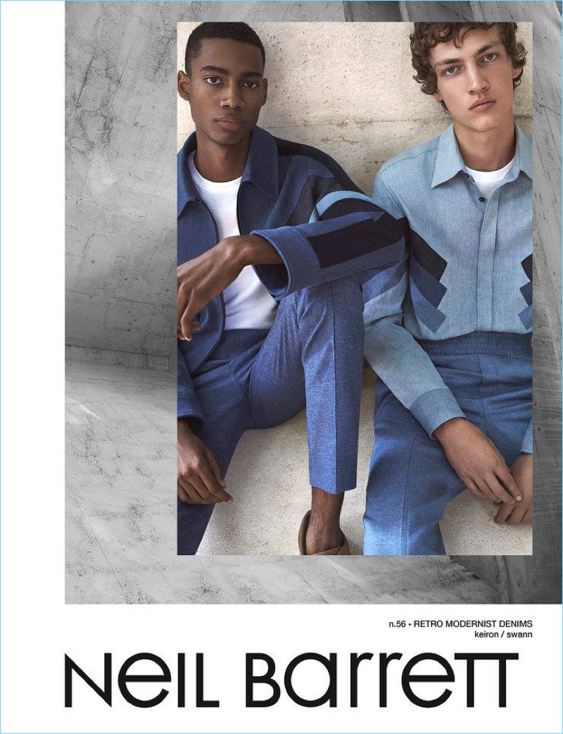 Keiron Caynes and Swann Guerrault star in Neil Barrett's spring-summer 2017 campaign.