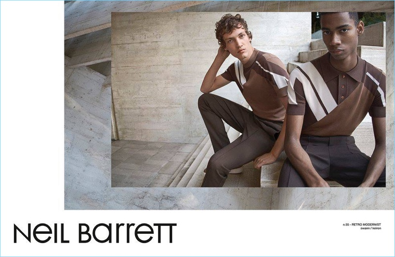 Models Keiron Caynes and Swann Guerrault sport brown fashions from Neil Barrett for the brand's spring-summer 2017 campaign.