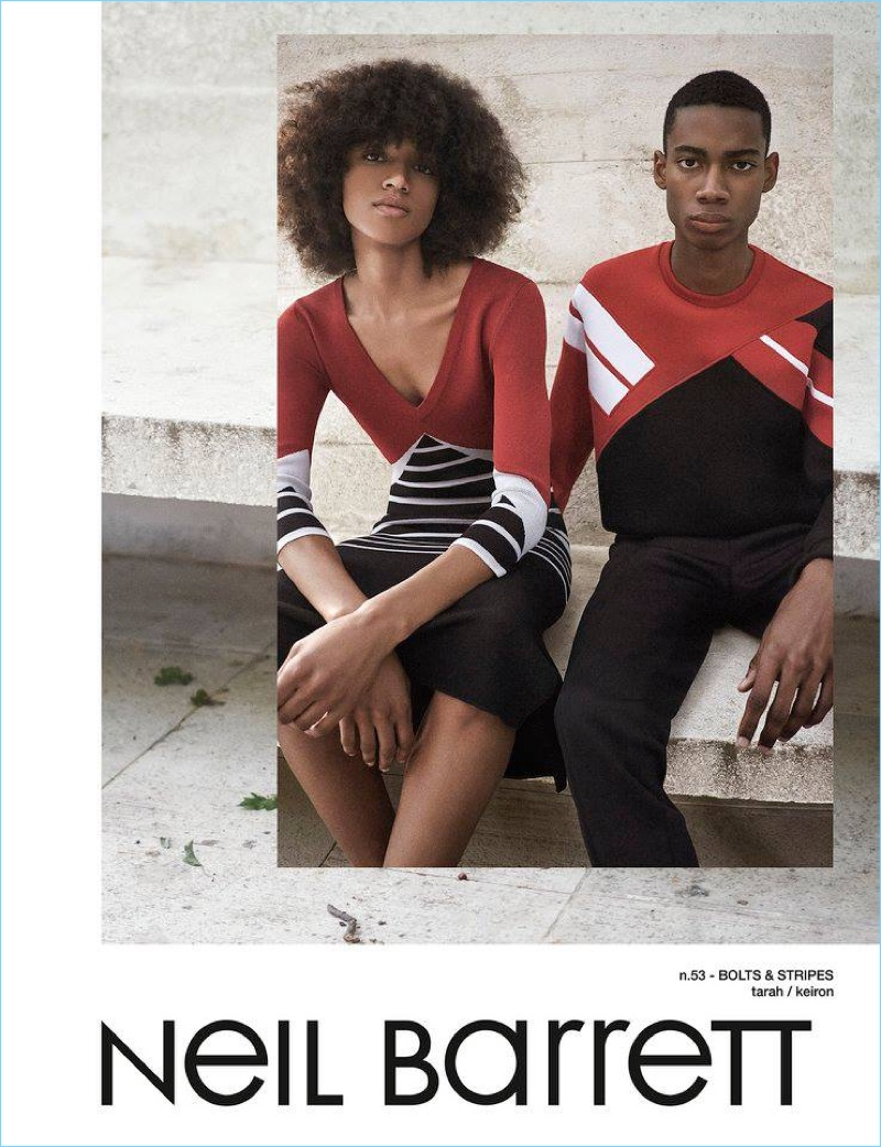 Neil Barrett enlists Tarah Rodgers and Keiron Caynes to front its spring-summer 2017 campaign.