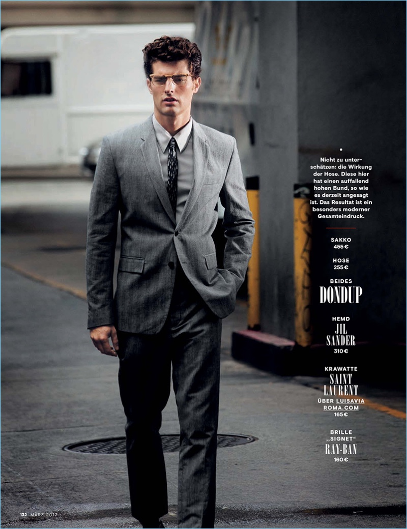 Tapping into a smart aesthetic, Paolo Anchisi sports a grey Dondup suit.