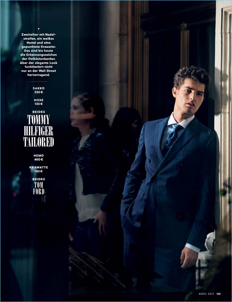 Doug Inglish photographs Paolo Anchisi in a pinstriped suit by Tommy Hilfiger Tailored.