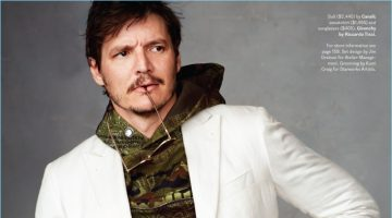 Narcos actor Pedro Pascal sports a Canali suit with a sweatshirt and sunglasses by Givenchy.