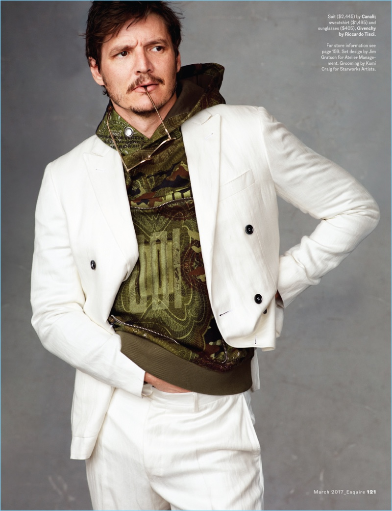 Pedro Pascal Rocks Camouflage Looks for Esquire Photo Shoot