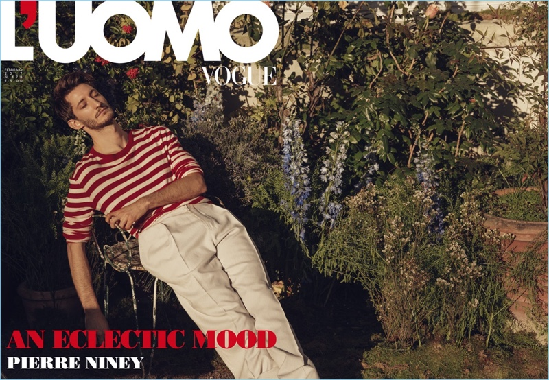 Pierre Niney covers the February 2017 issue of L'Uomo Vogue.