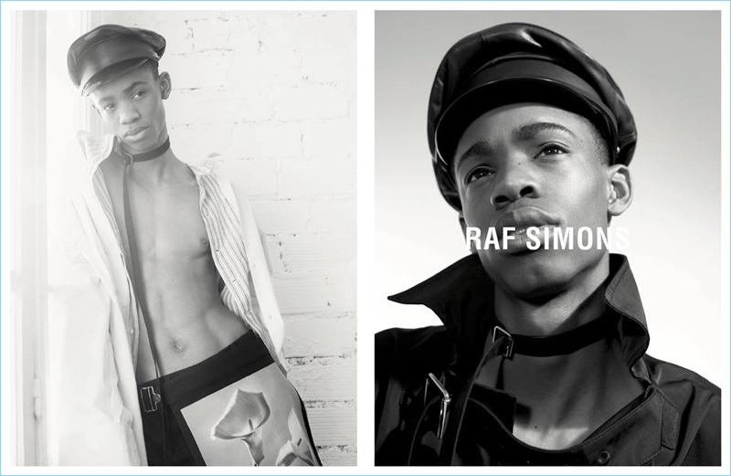 Montell Martin links up with photographer Willy Vanderperre for Raf Simons' spring-summer 2017 campaign.