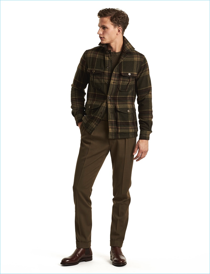 Bring a little of the outdoors into your fall wardrobe with Ralph Lauren Purple Label's plaid jacket.