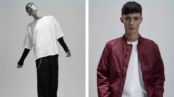 Left: Channeling his inner skater, Simon Kotyk wears an oversized t-shirt from Fenty by Puma. Simon also wears a long-sleeve thermal by Cotton Citizen with oversized Chapter trousers and Want Les Essentiels boots. Right: Simon sports a MA-1 bomber jacket and cropped pants by Stüssy with a Fenty by Puma oversized t-shirt.