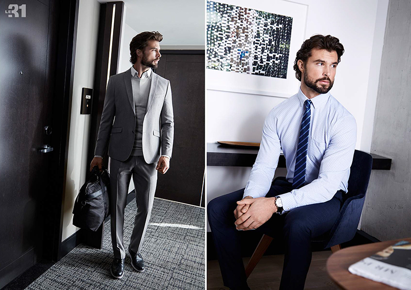 Left: Embracing grey, Walter Savage wears a Bosco suit with a LE 31 semi-tailored fit shirt and sweater. Right: Walter dons trim pants with a smart shirt and tie from LE 31.