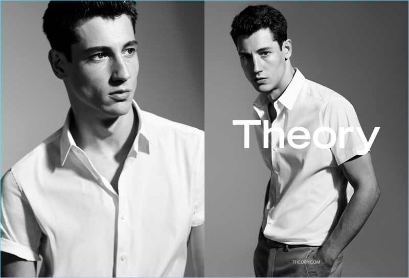 Model Nicolas Ripoll sports a classic white short-sleeve button-down shirt for Theory's spring-summer 2017 campaign.