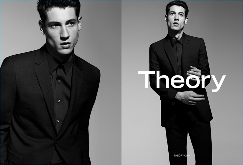 Nicolas Ripoll suits up for Theory's spring-summer 2017 advertising campaign.