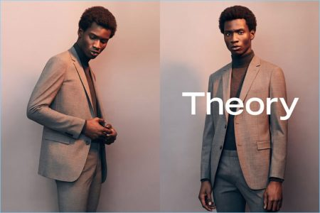 Adonis Bosso is front and center in tailored suiting for Theory's spring-summer 2017 campaign.