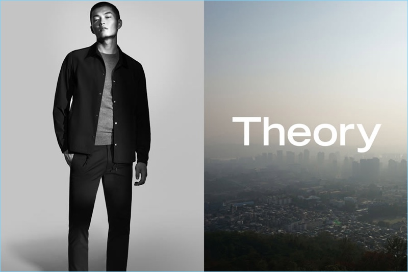Satoshi Toda stands tall for Theory's spring-summer 2017 campaign.