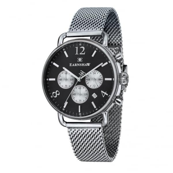 Thomas Earnshaw ES-8001-44 Investigator Silver Mesh & Silver Black Mens Chronograph Watch