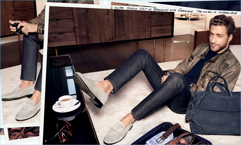 Donning suede loafers, Francesco Carrozzini appears in Tod's spring-summer 2017 campaign.