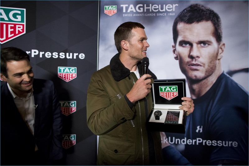 TAG Heuer CEO Killian Muller presents New England Patriots quarterback Tom Brady with a Caliber H02 Tourbillion on February 8, 2017 in Boston, Massachusetts.