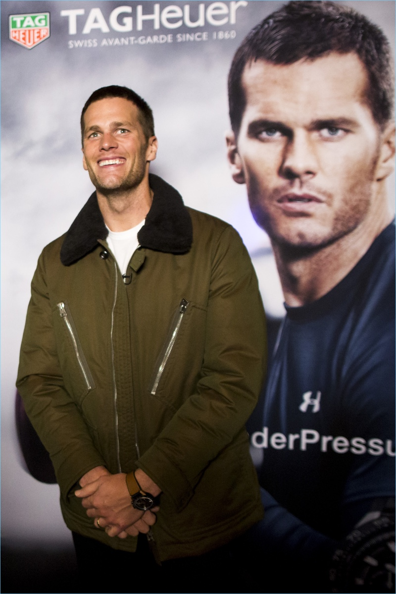 New England Patriots quarterback Tom Brady appears at 'A Triumphant Celebration with Living Legend, Tom Brady' on February 8, 2017 in Boston, Massachusetts.