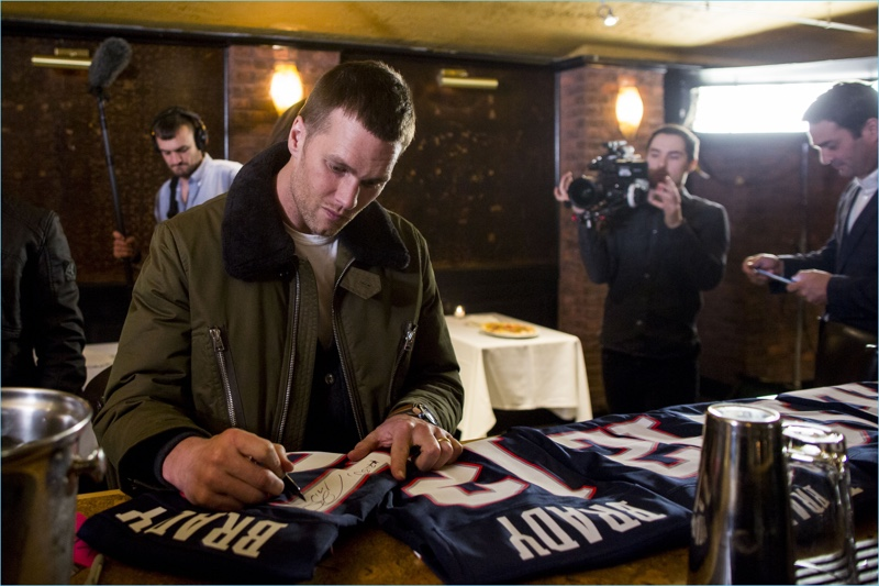 Tom Brady autographs jerseys at 'A Triumphant Celebration with Living Legend, Tom Brady' on February 8, 2017 in Boston, Massachusetts.