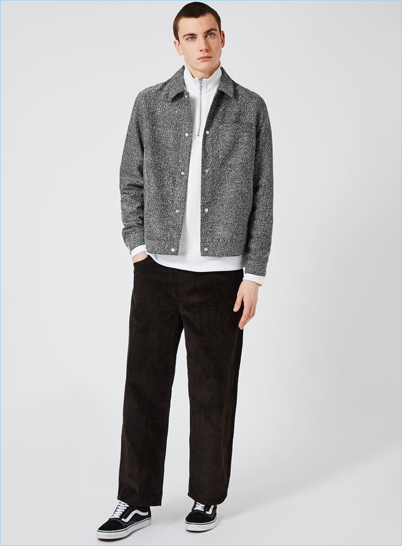 Topman goes sporty with its coach jacket, pairing it with a half-zip pullover and straight-cut pants.