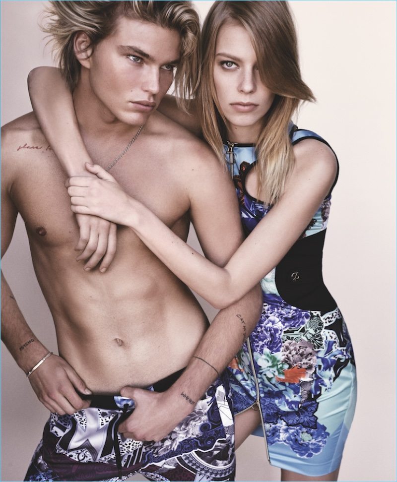 A shirtless Jordan Barrett joins Lexi Boling for Versace Jeans' spring-summer 2017 lookbook.