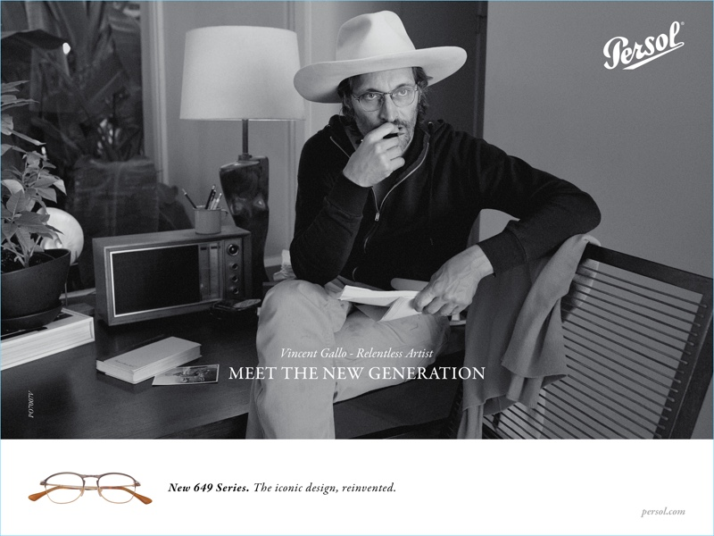 c3d43f12660 Vincent Gallo wears Persol s 649 Series glasses for the brand s  spring-summer 2017 campaign.
