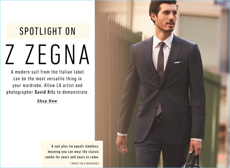Photographer David Kitz suits up for a professional look from Italian brand, Z Zegna.