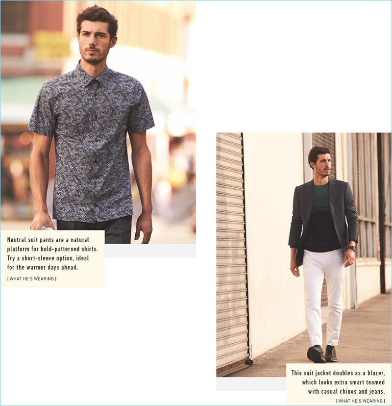 Left: David Kitz goes smart casual in a graphic short-sleeve shirt with pleated trousers by Z Zegna. Right: Kitz sports a blazer, white jeans, a sweater, and sneakers from Z Zegna.