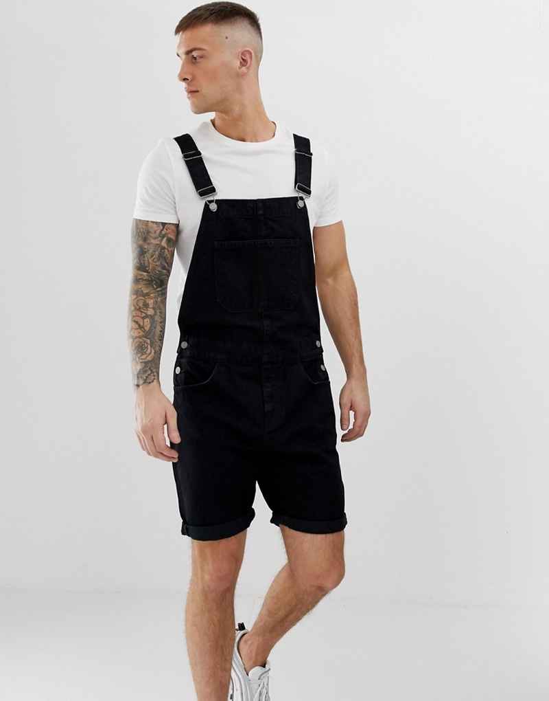 ASOS Design Denim Overall Shorts in Black $56